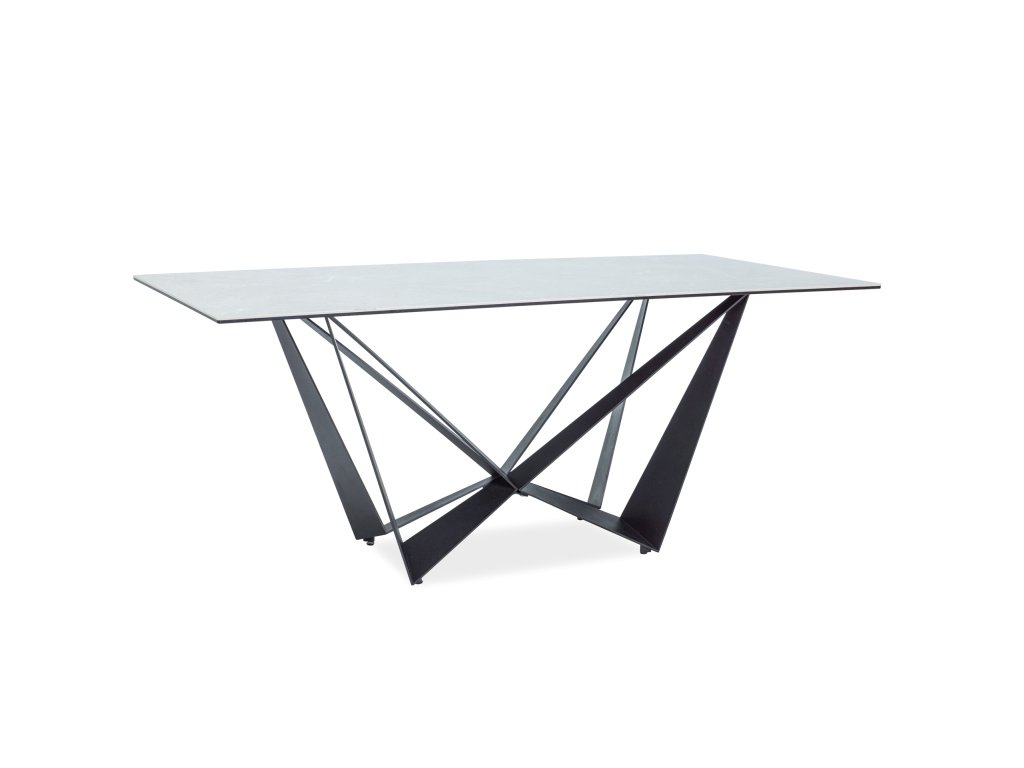 Jídelní stůl, šedý efekt mramoru / černý mat, ASTON II 180X90