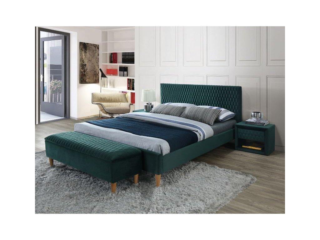 Dvoulůžková postel, zelená/dub, AZURRO 160X200