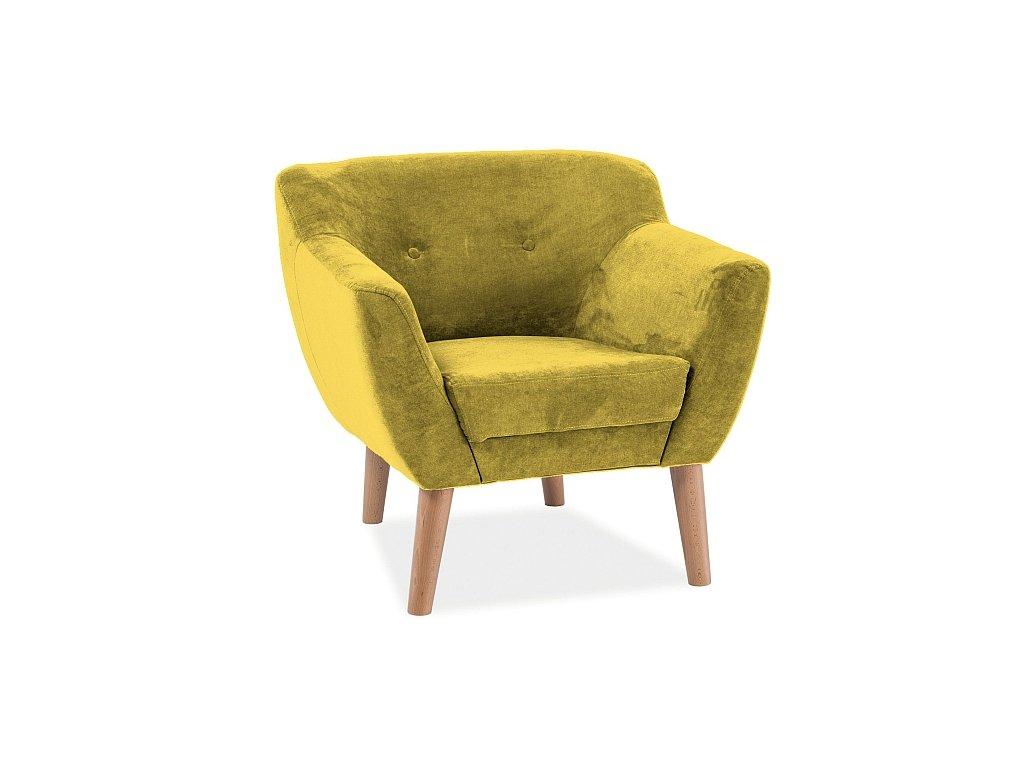 Relaxační křeslo, žlutá / buk, BERGEN 1