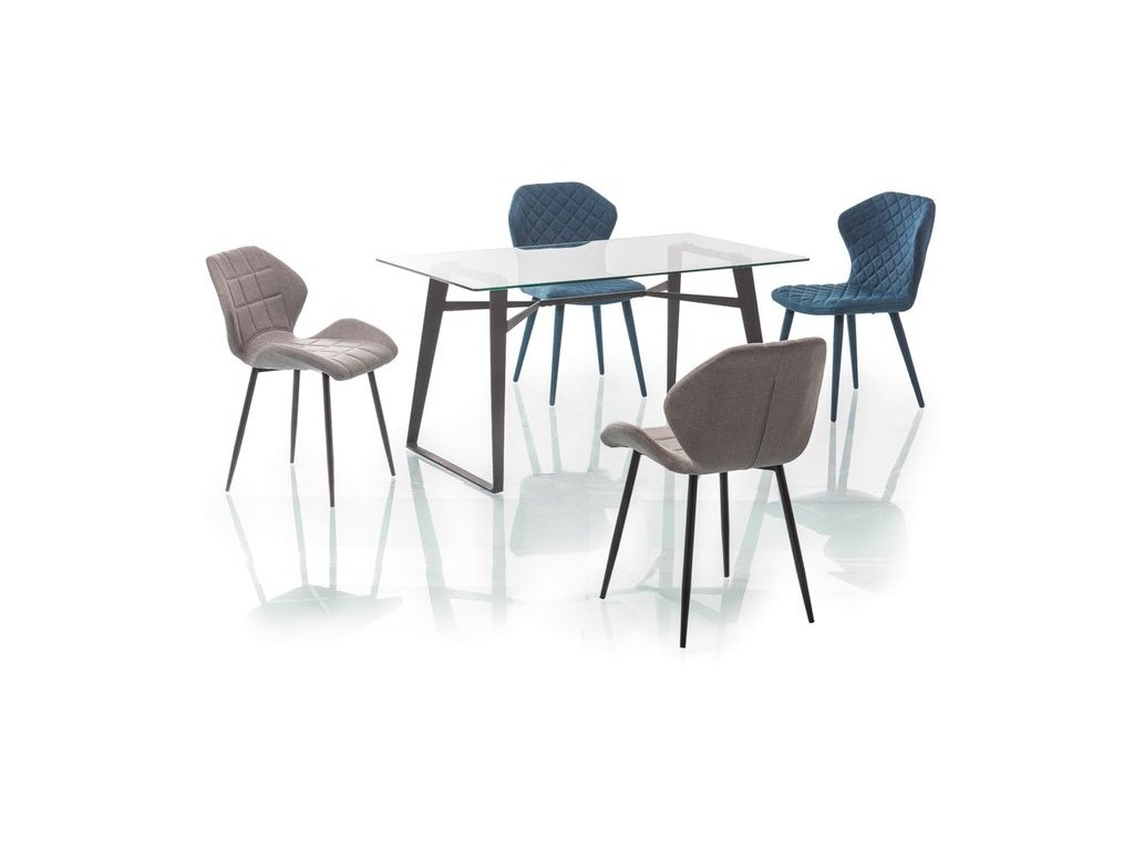 Jídelní stůl, transparentní / černá, BOLT 140X80