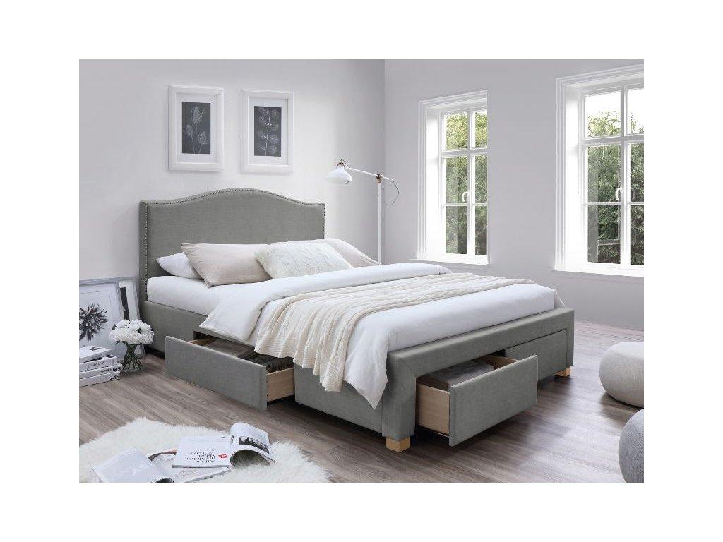 Čalouněná postel, šedá/dub, CELINE 160X200