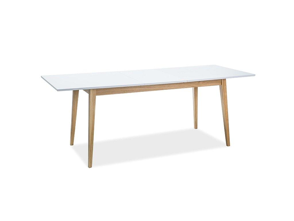 Jídelní stůl, bílá / dub, CESAR 160(205)x80