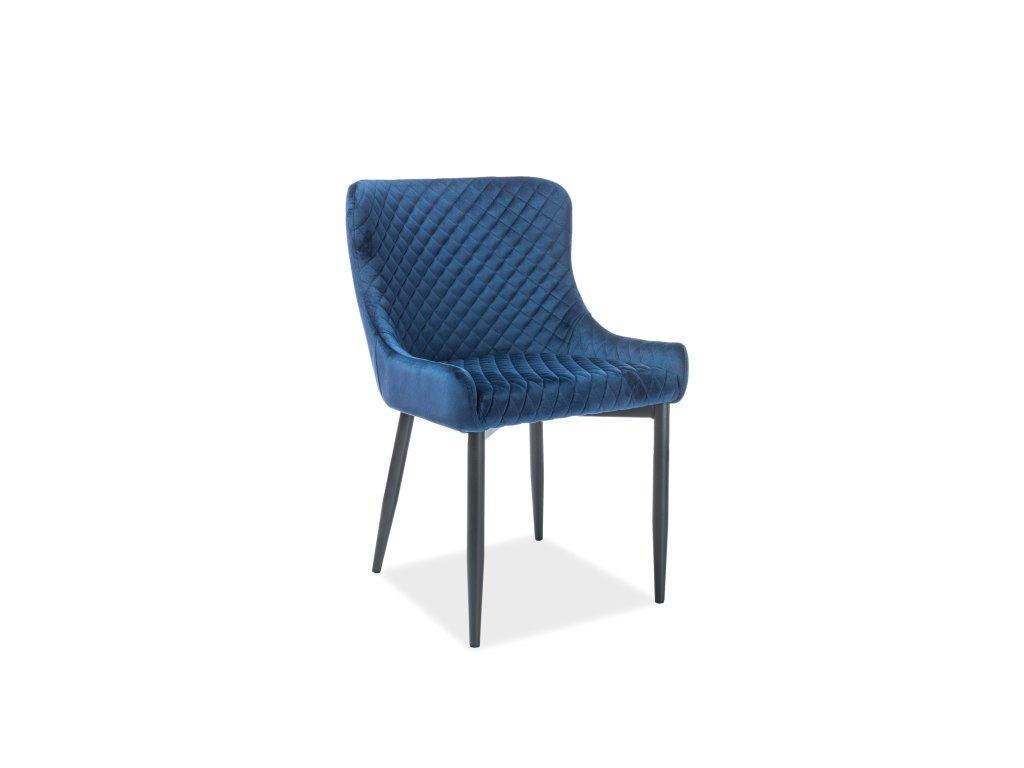 Židle, tmavě modrý samet / černá kostra, COLIN B