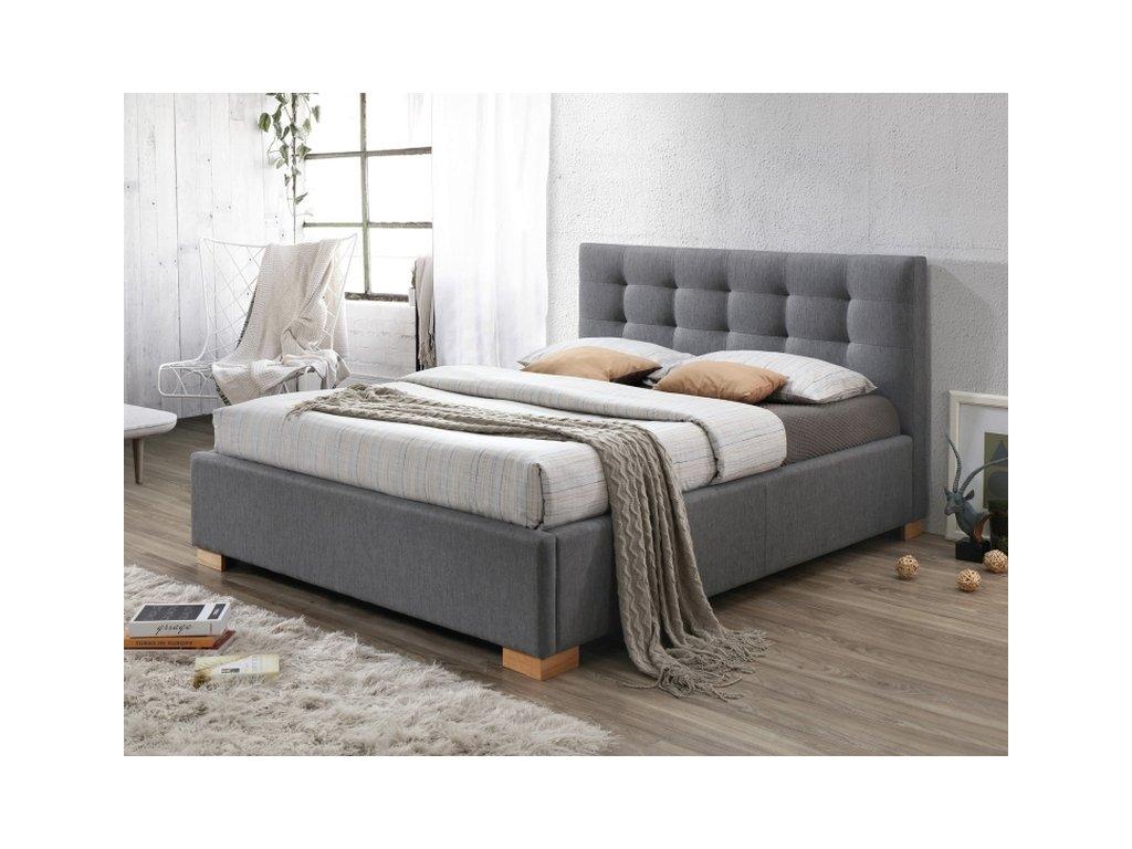 Dvoulůžková postel, šedá/dub, COPENHAGEN 160x200