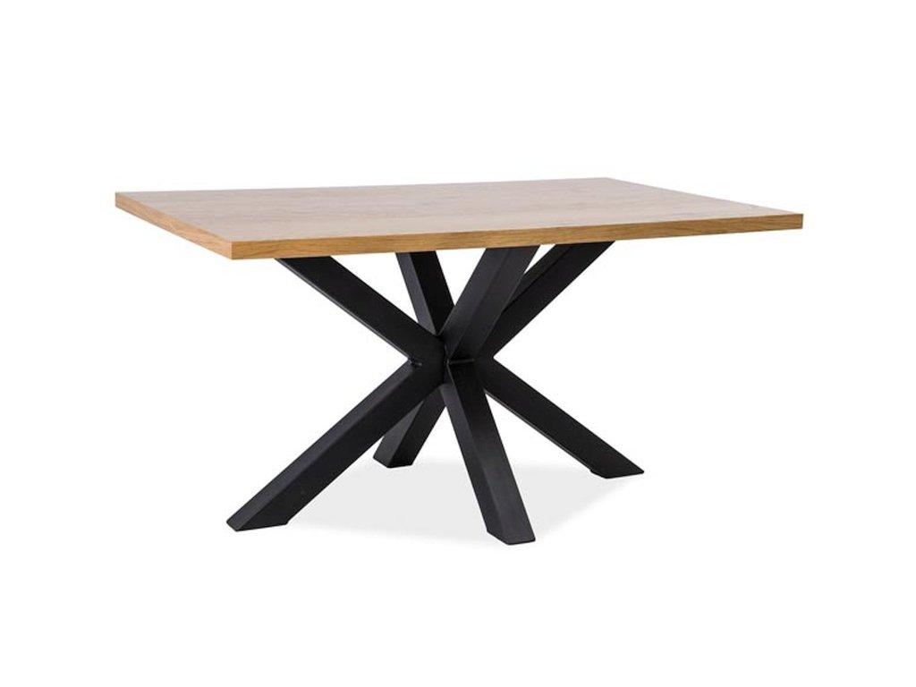 Černý jídelní stůl s dubovou deskou CROSS 180x90