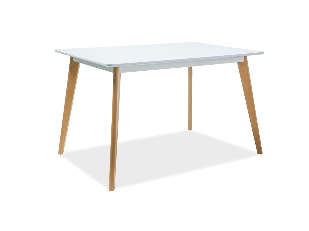 Jídelní stůl, bílá / buk, DECLAN I 120X80
