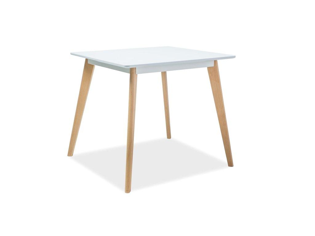 Jídelní stůl, bílá / buk, DECLAN II 80X80