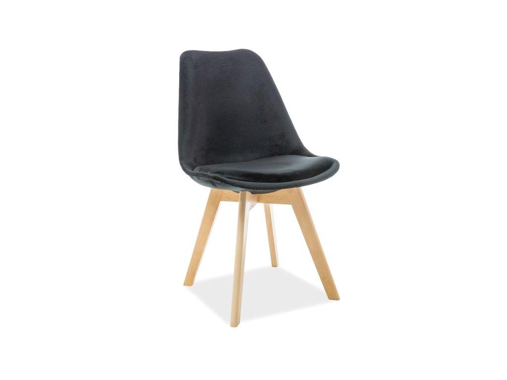 Židle, černý samet / buk, DIOR VELVET