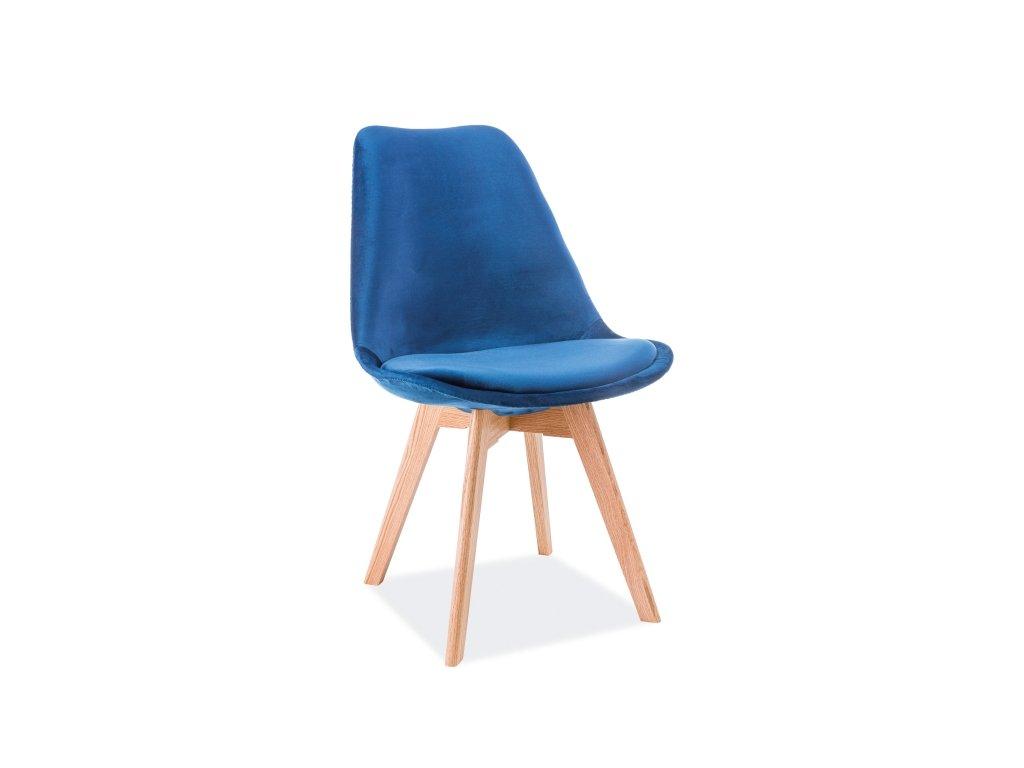 Židle, tmavě modrý samet / dub, DIOR VELVET