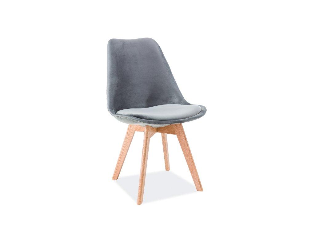 Židle, šedý samet / dub, DIOR VELVET
