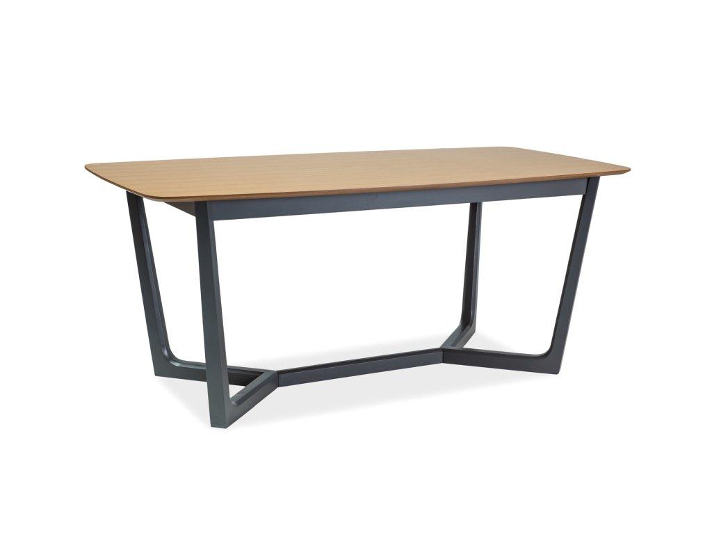 Jídelní stůl, dub / grafit, DOSSIER II 180X90