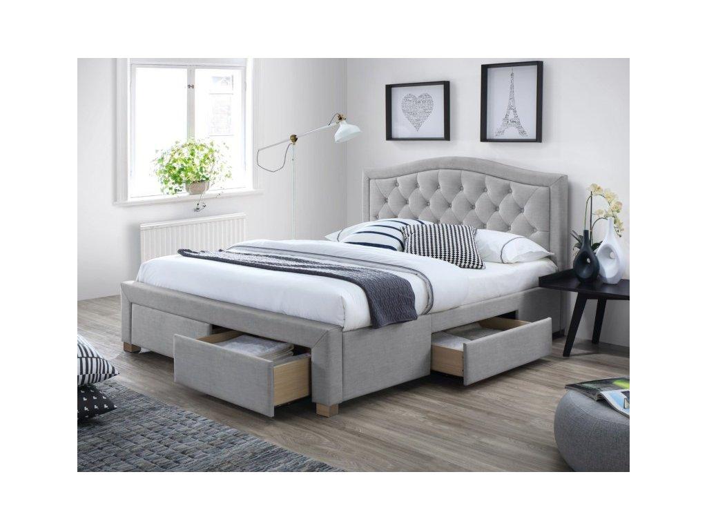 Šedá čalouněná postel ELECTRA 160 x 200 cm