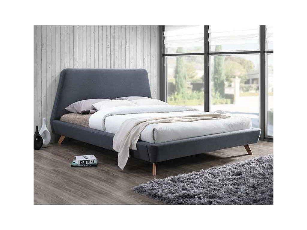 Dvoulůžková postel, šedá, GANT 160X200