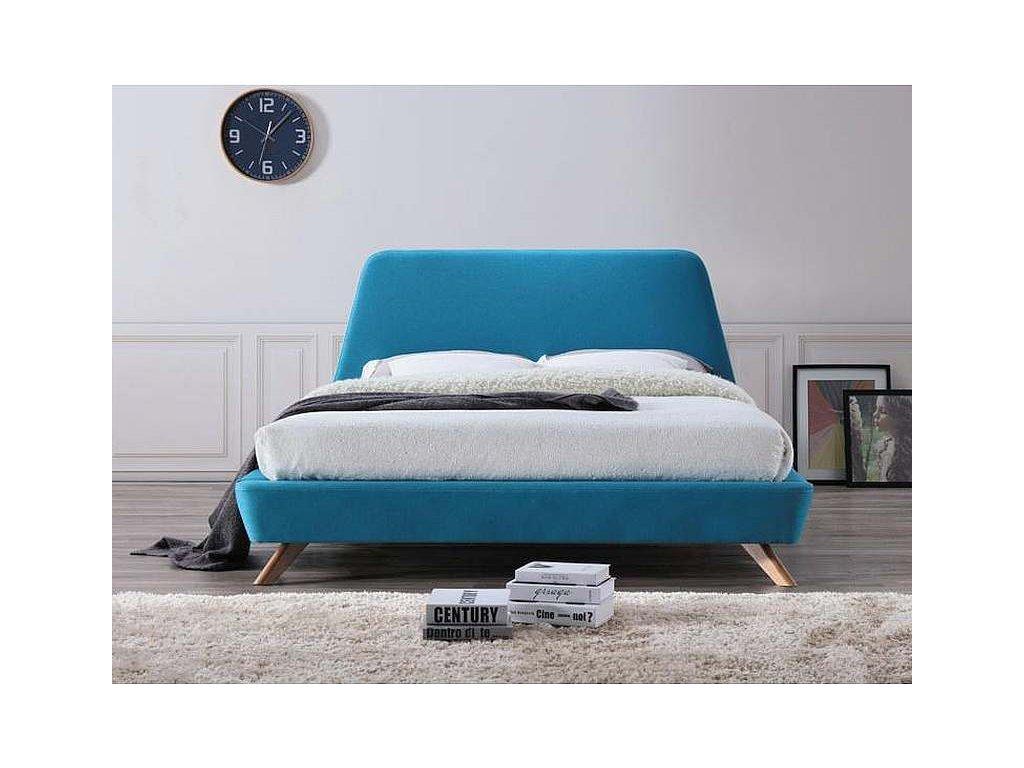 Tyrkysová dvoulůžková postel GANT 160 x 200 cm