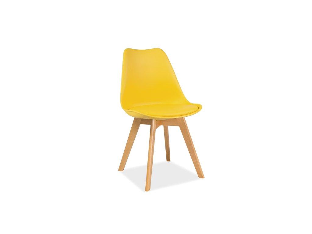 Žlutá židle s bukovými nohami KRIS