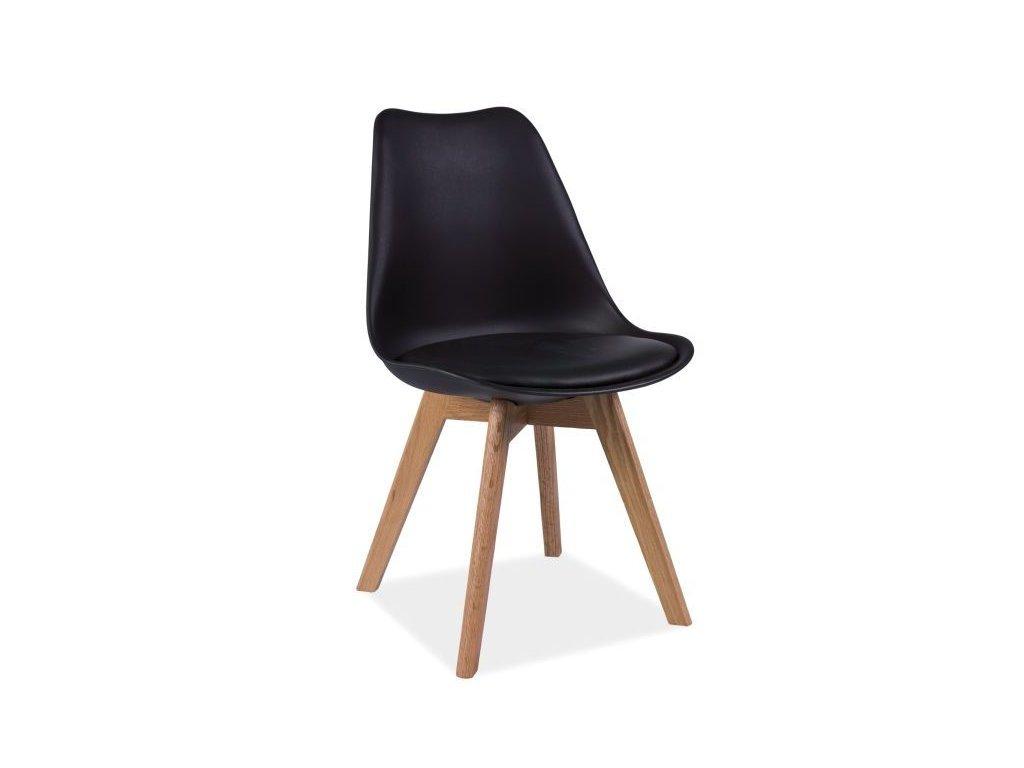 Židle, černá / dub, KRIS
