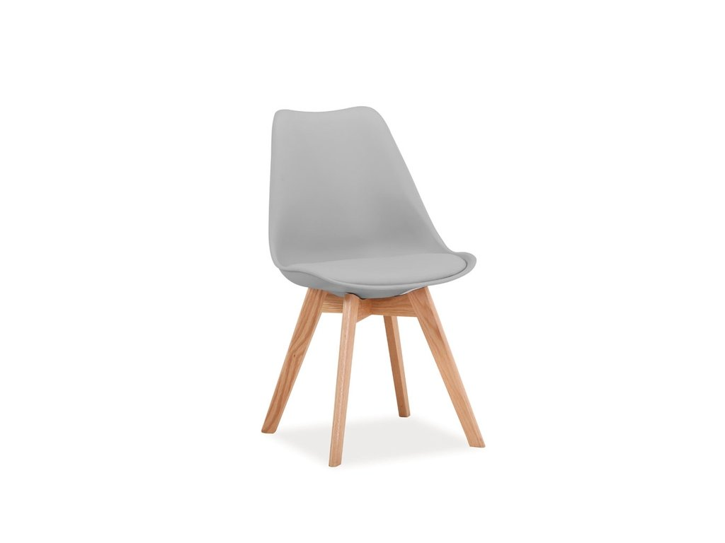 Světle šedá židle s dubovými nohami KRIS