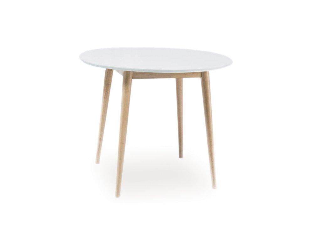 Jídelní stůl, bílá / dub bělený, LARSON 90X90