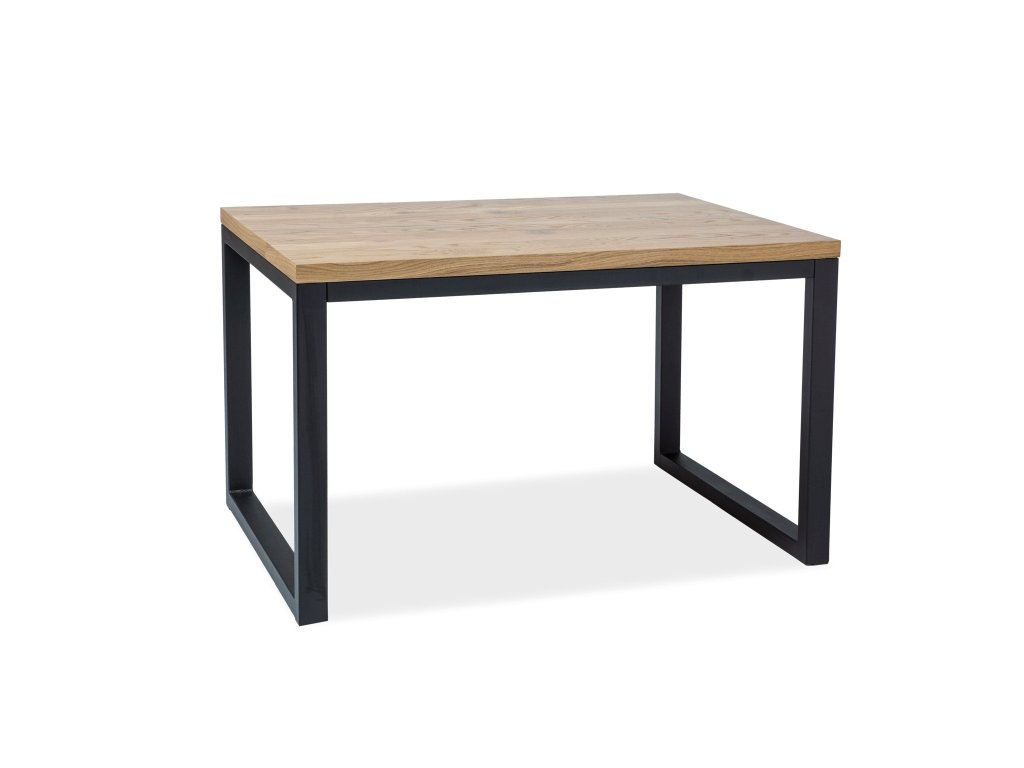 Černý jídelní stůl s dubovou deskou LORAS II 120x80