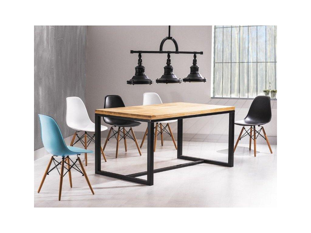 Jídelní stůl, přírodní dub / černá, LORAS 150x90