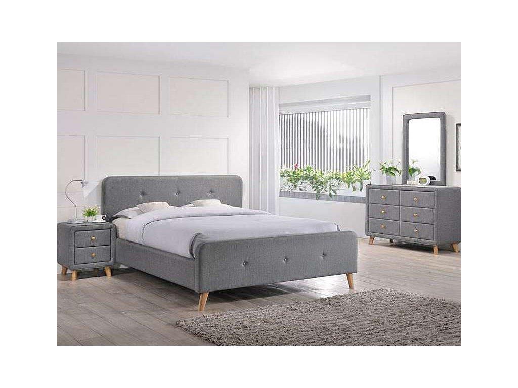 Dvoulůžková postel, šedá/dub, MALMO 140X200