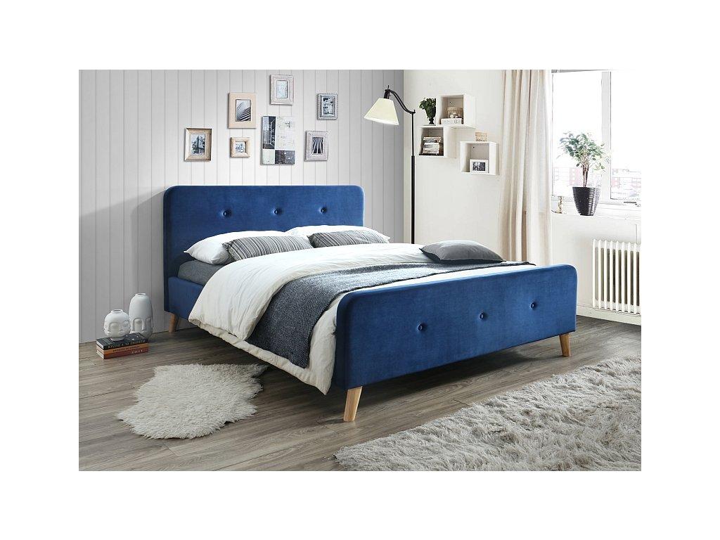 Modrá čalouněná postel MALMO VELVET 160 x 200 cm