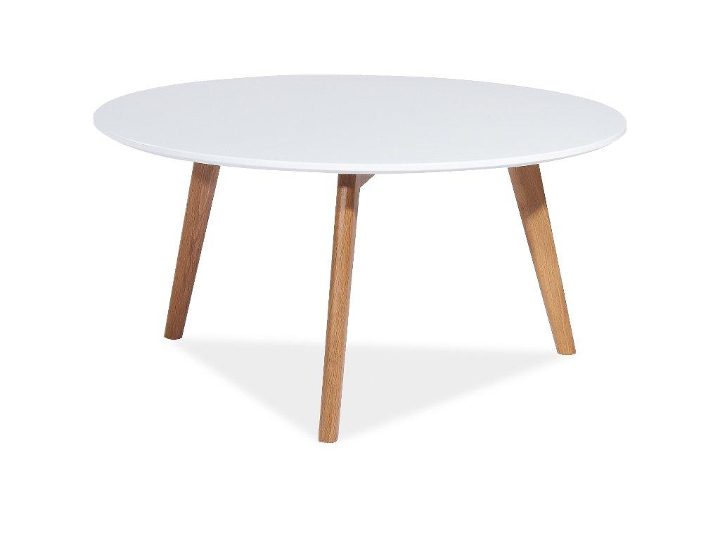Konferenční stolek, bílá / dub, MILAN L1 80x80