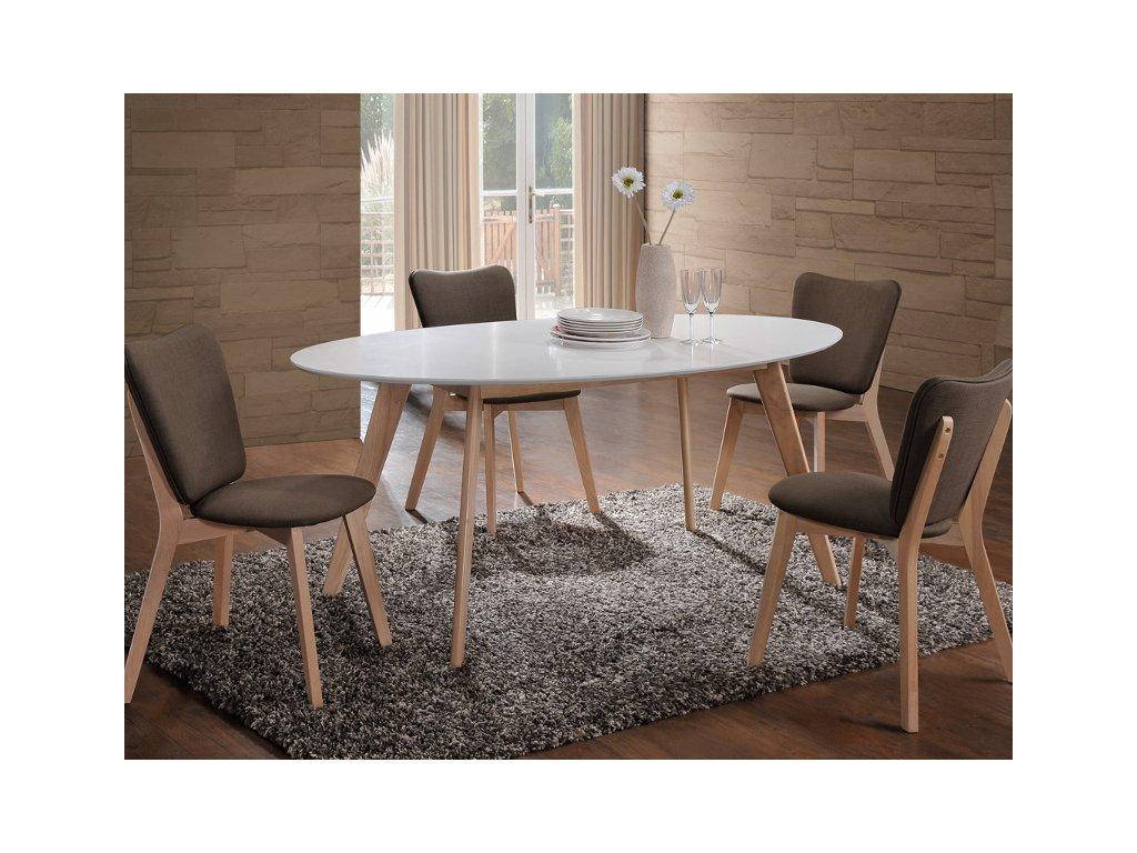 Jídelní stůl, bílá / dub, MONTANA
