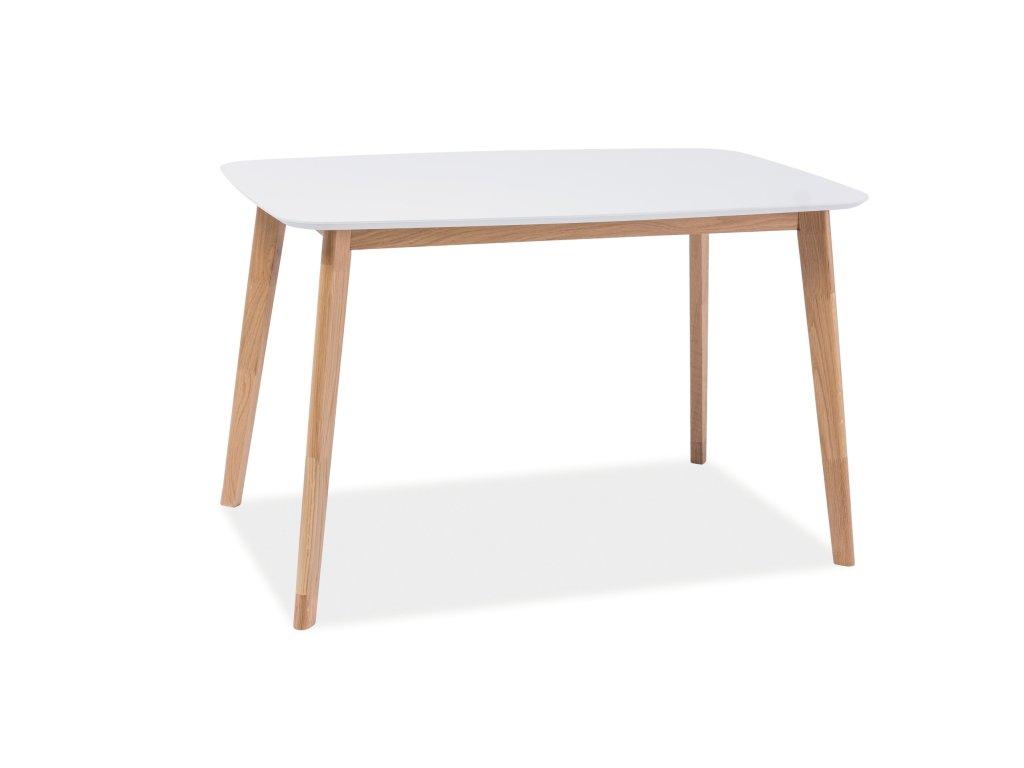Jídelní stůl, bílá / dub, MOSSO I 120X75