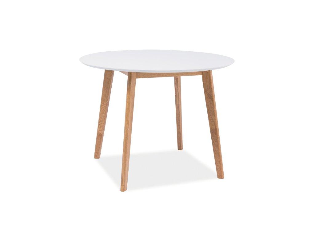 Jídelní stůl, bílá / dub, MOSSO II 100x100