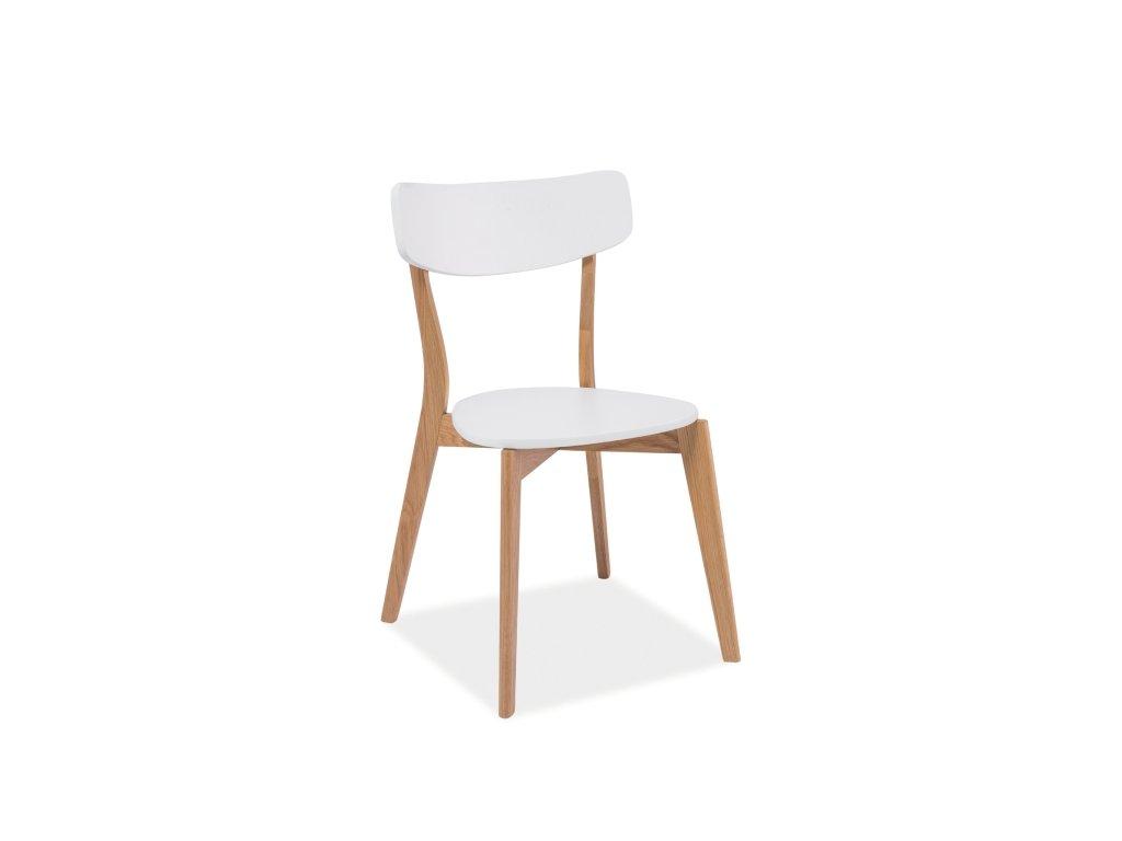Dřevěná židle, bílá / dub, MOSSO