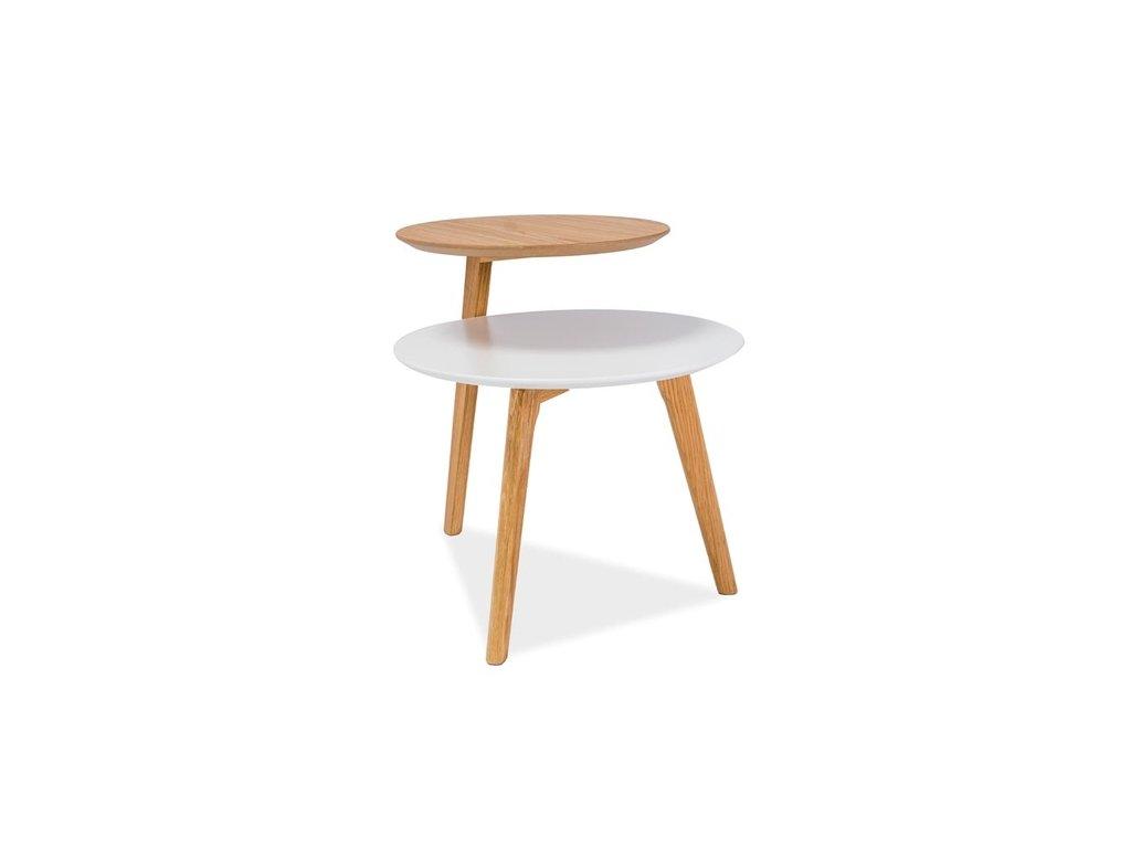 Příruční stolek, bílá / dub, NEO