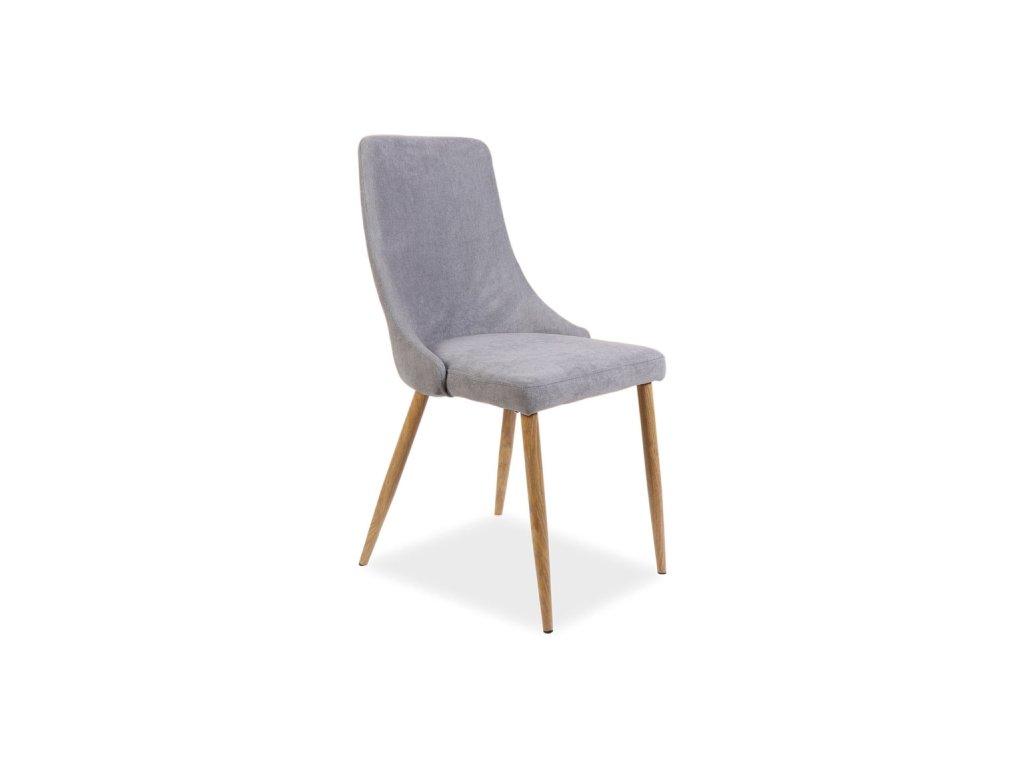 Šedá židle s dubovými nohami NOBEL
