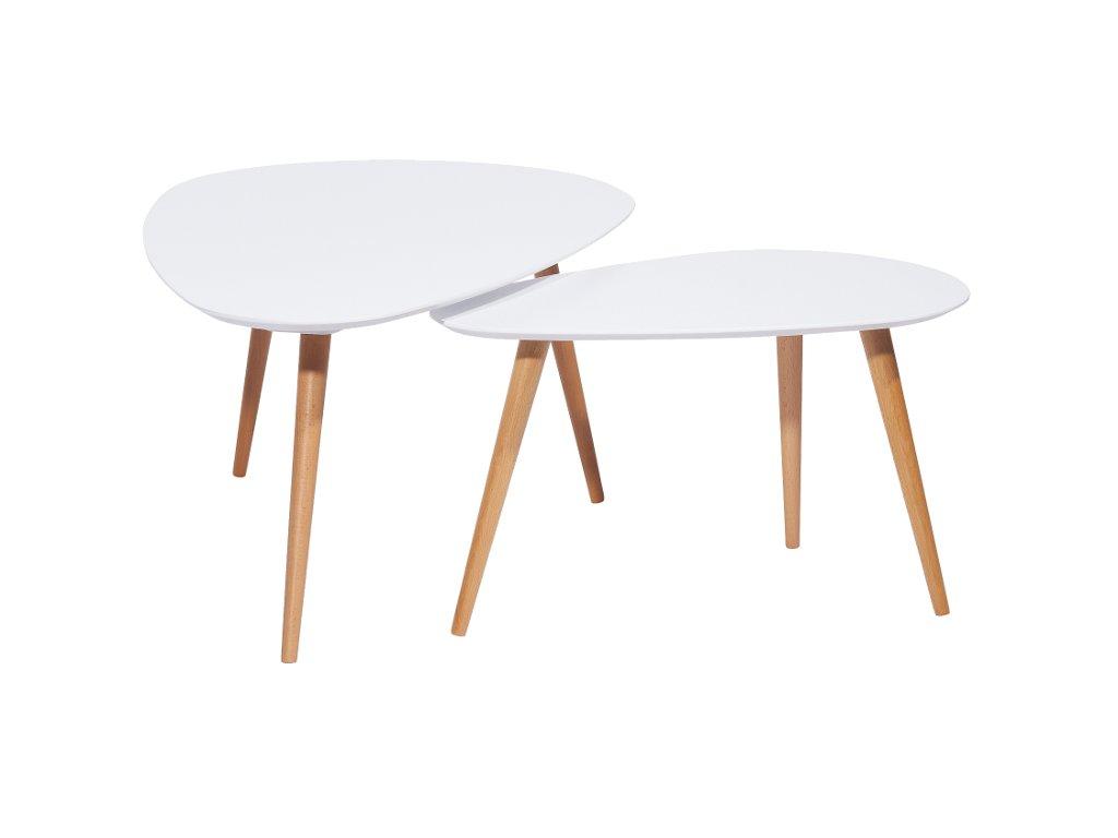 Set příručních stolků, bílá / buk, NOLAN B