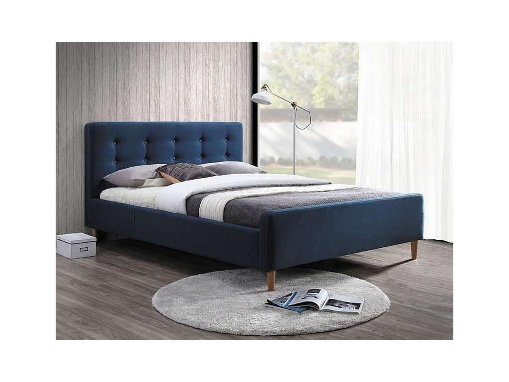 Modrá čalouněná postel PINKO 160 x 200 cm