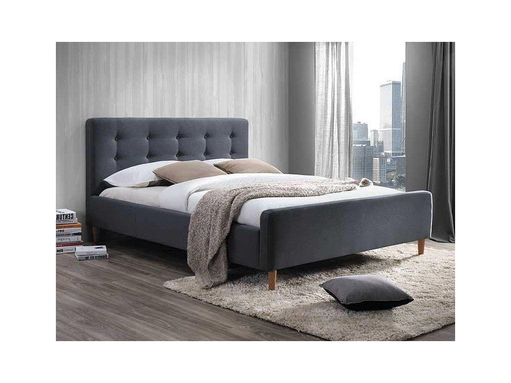 Šedá čalouněná postel PINKO 160 x 200 cm