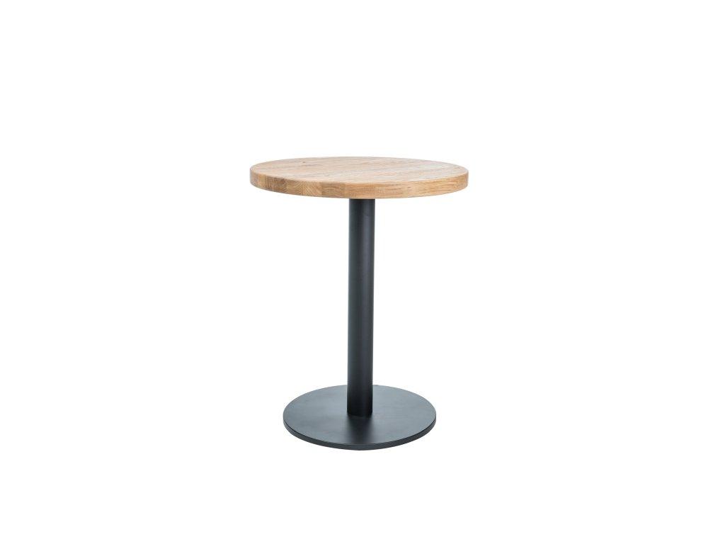 Černý jídelní stůl s dubovou deskou PURO II fi 80