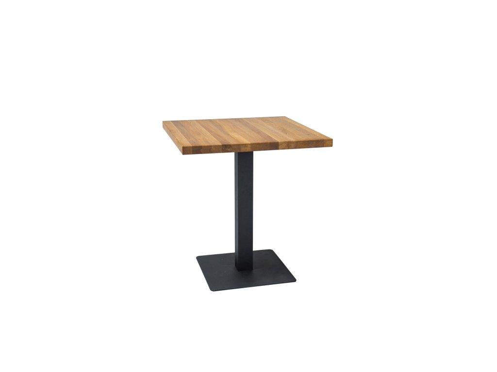 Černý jídelní stůl s dubovou deskou PURO 70x70