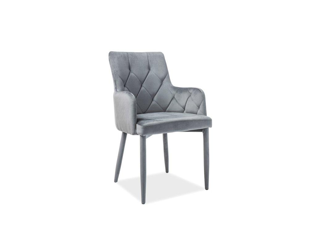 Židle, šedý samet, RICARDO