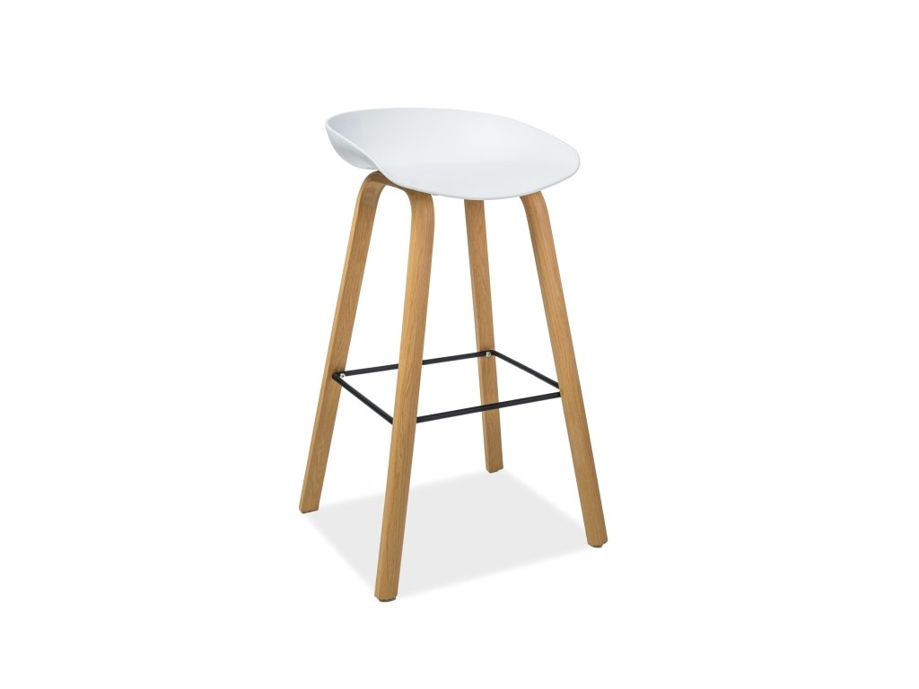 Barová stolička, dub / bílá, HOKER STING