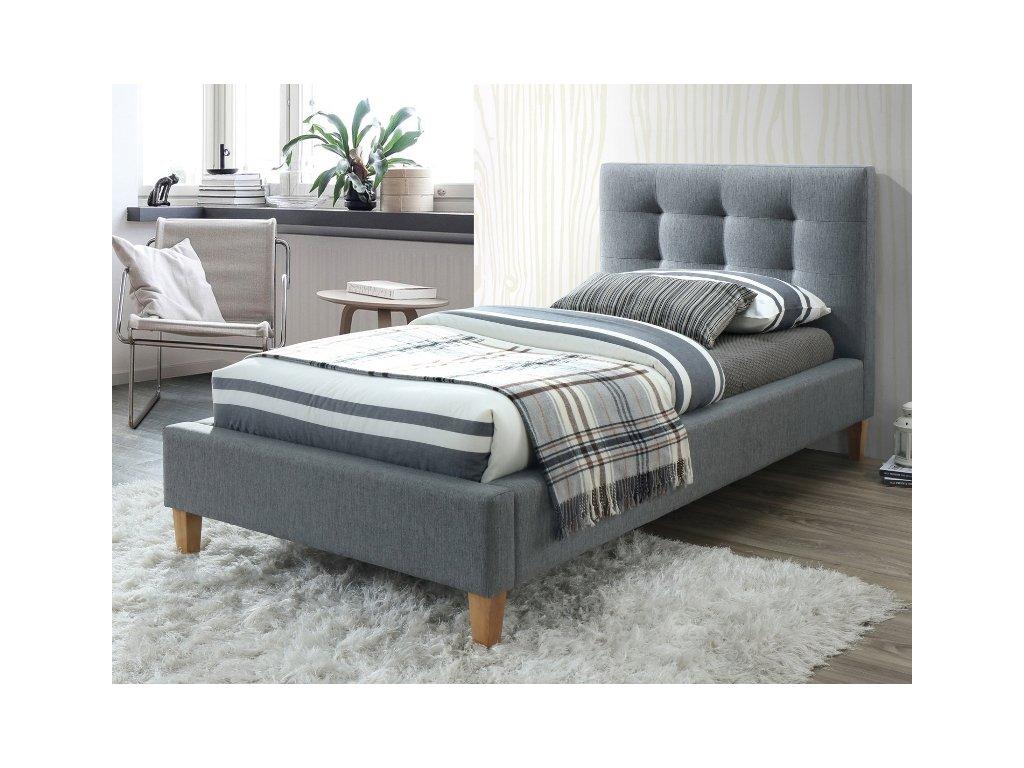 Šedá čalouněná postel TEXAS 90 x 200 cm