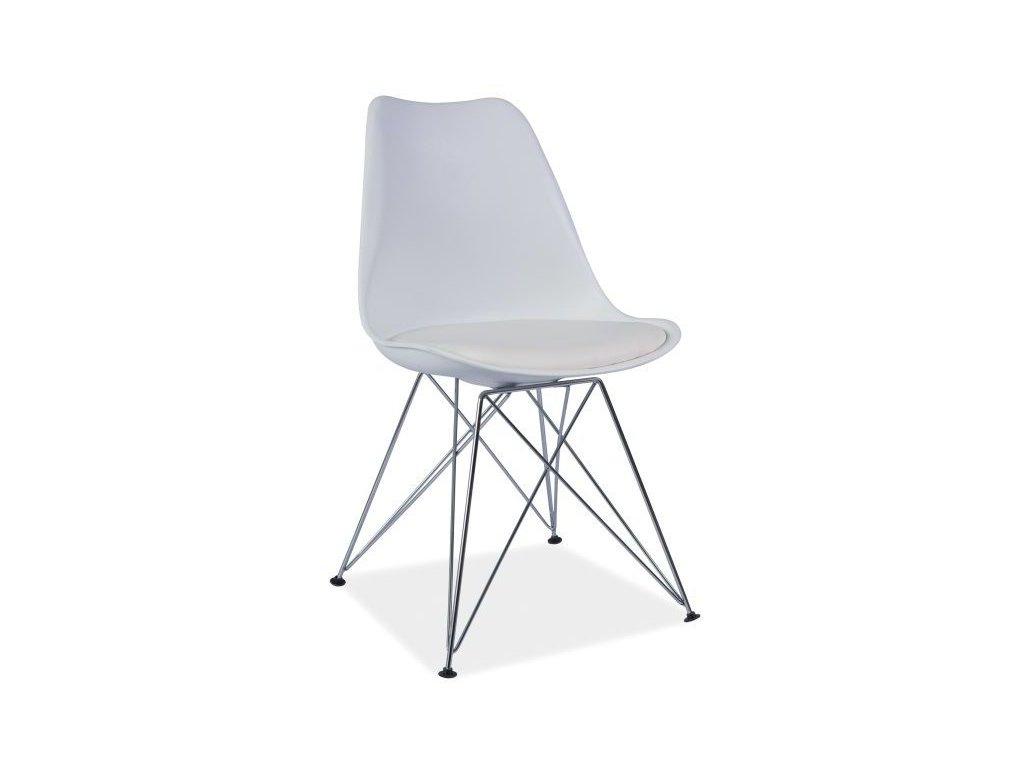 Židle, bílá / chrom, TIM