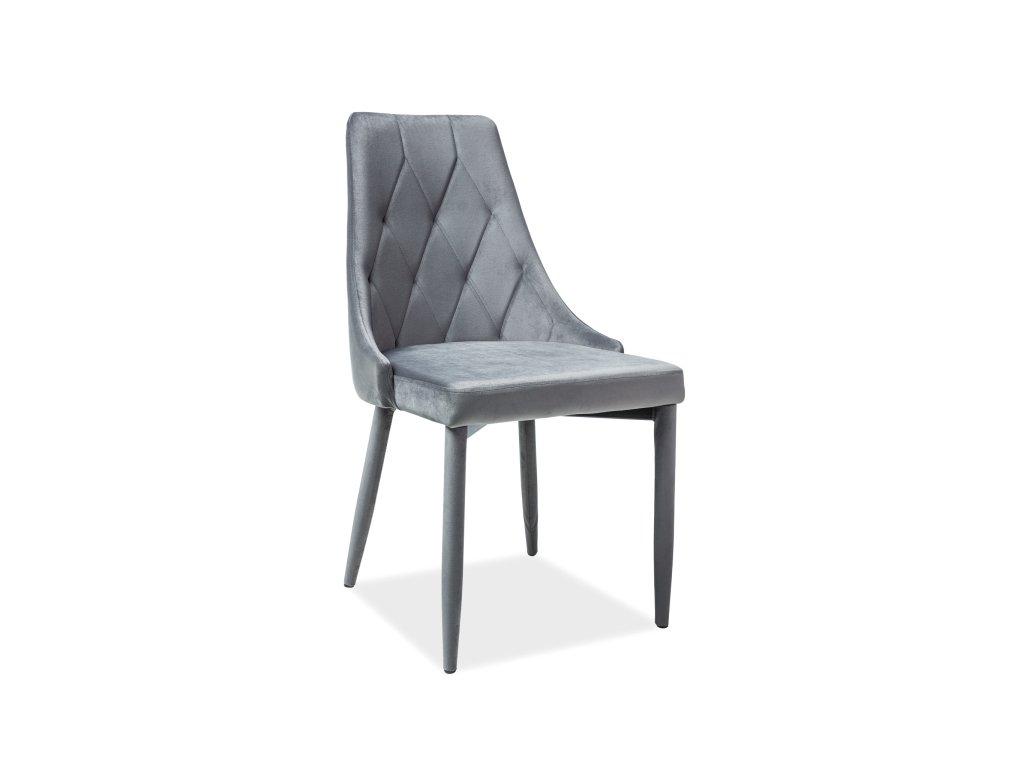 Židle, šedý samet, TRIX VELVET