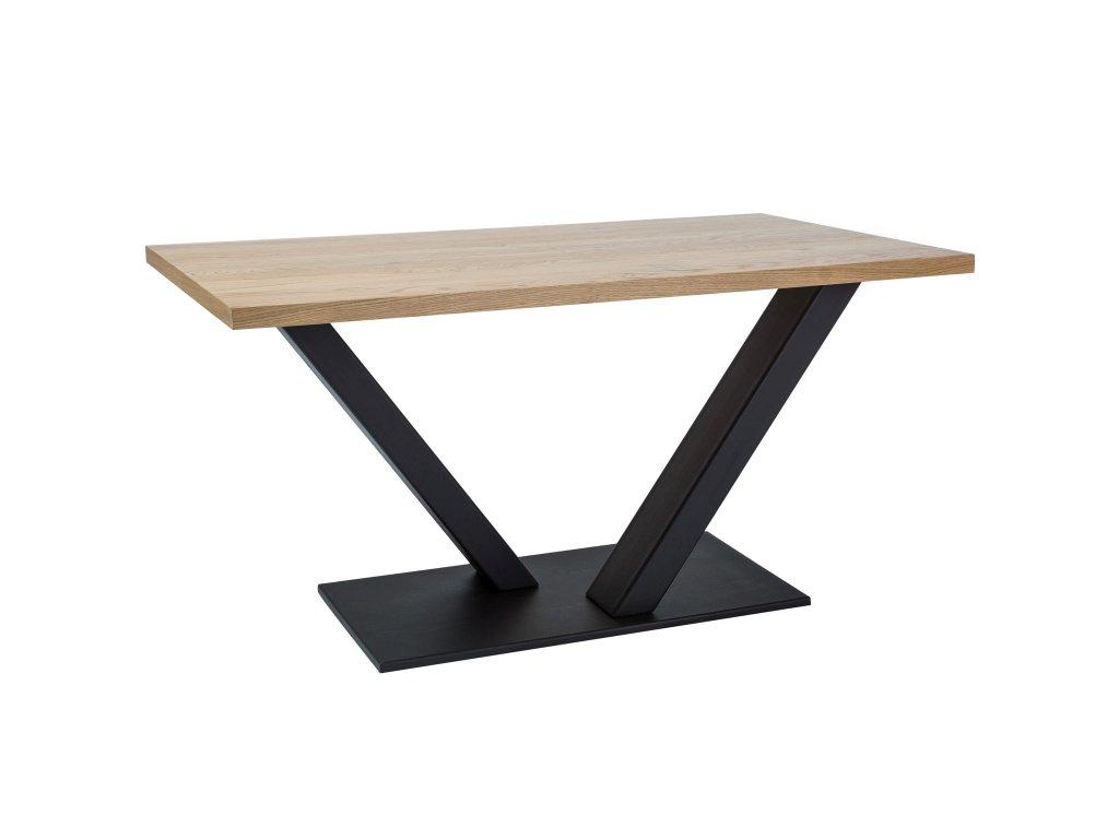 Černý jídelní stůl s dubovou deskou VECTOR 180x90