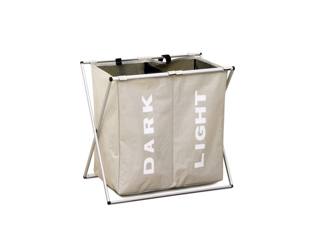 Šedobéžový látkový koš na prádlo LAUNDRY TYP 2