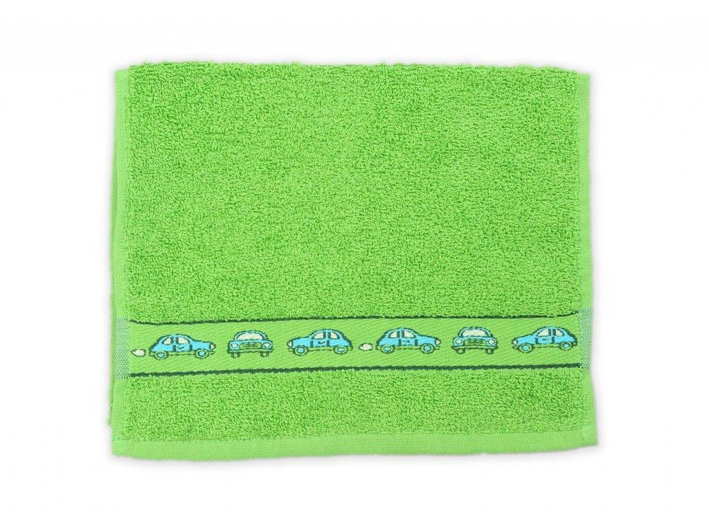 Ručník dětský 30 x 50 cm dětské motivy obrázky výšivka bavlněný zelený auto autíčka