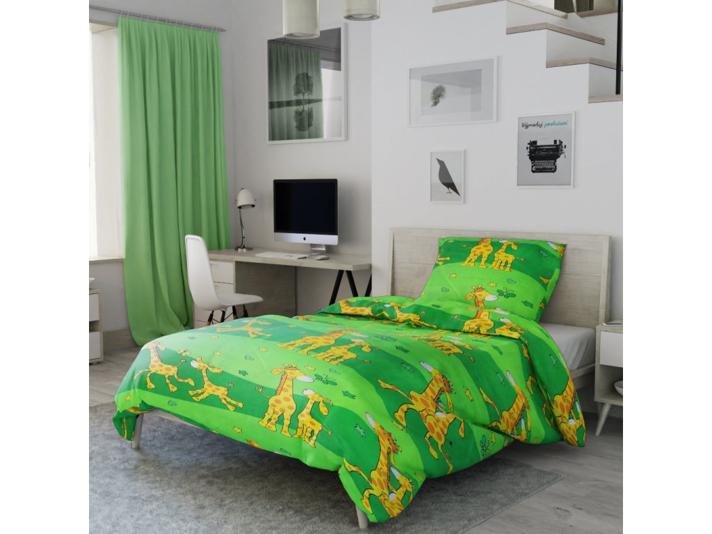1430 1 bavlnene povleceni zirafa zelena