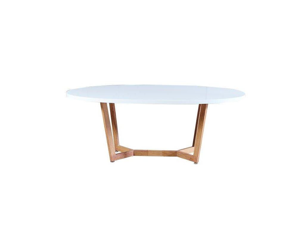 Konferenční stolek, bílá extra vysoký lesk HG / dub sonoma, GLOSY