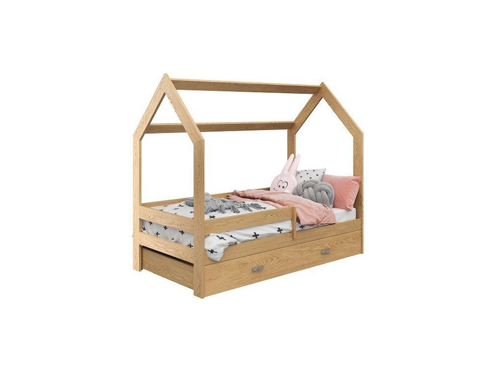 Dětská postel DOMEČEK D3 borovice 80 x 160 cm