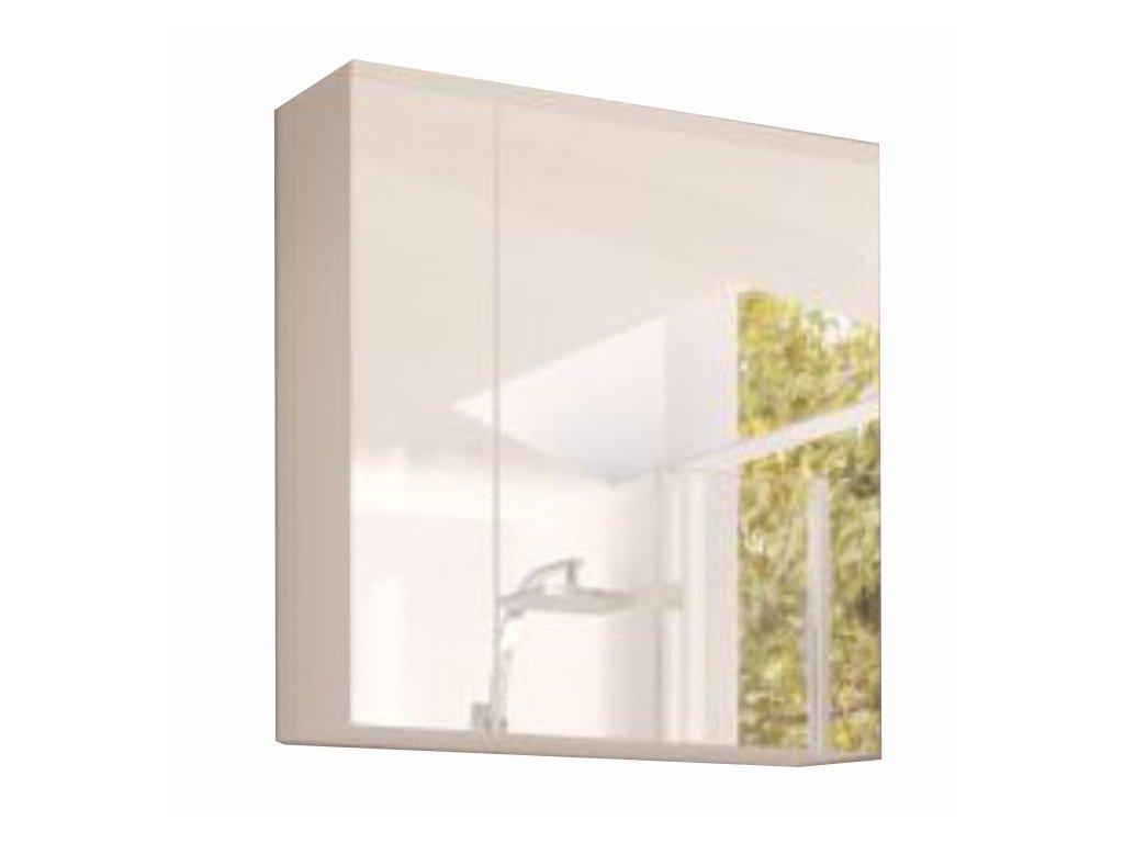 Bílá skříňka se zrcadlem MASON WH14, vysoký lesk HG